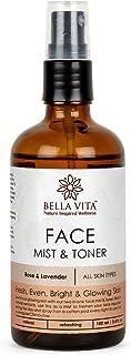 Bella Vita Organic Rose & Lavender Face Mist & Toner for Fresh, Even, Bright & Glowing Skin for All Skin Types, 100 ml