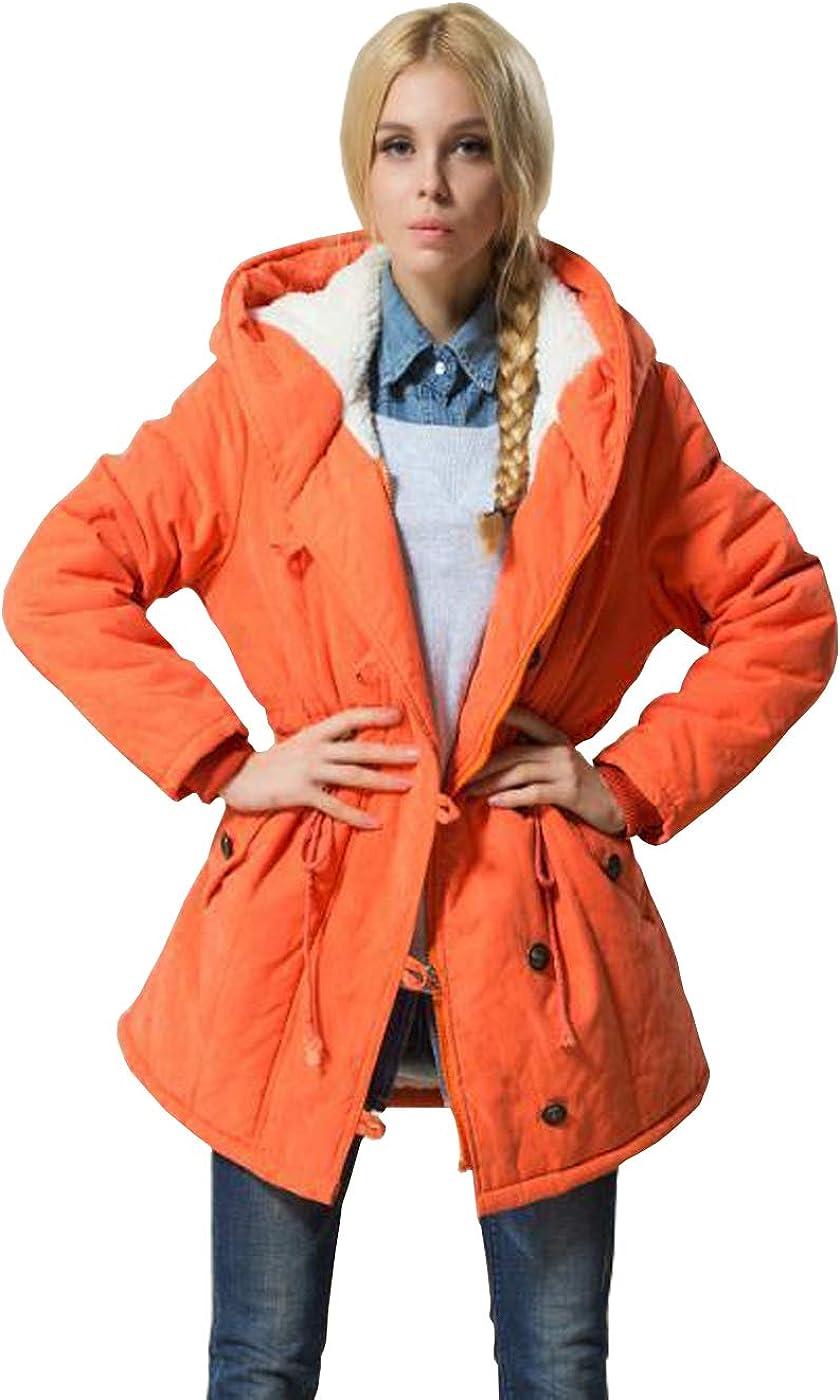Showu Damen Winterjacke, Wintermantel Daunenjacke Outwear Parka mit Kapuze Graben Outwear Orange