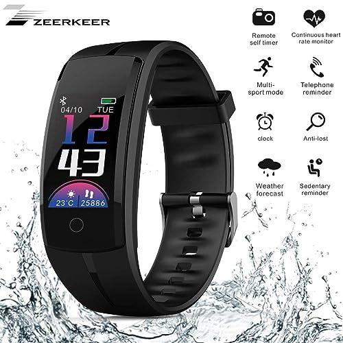 Zeerkeer Montre Connectée Fitness Tracker Bracelet Connecté Étanche IP68 Bluetooth Smartwatch d'Activité Cardiofréquencemètre Podomètre,pour Homme Femme Enfant pour Android iOS