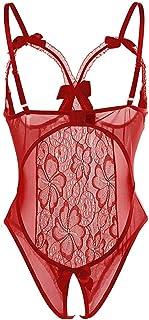 Mujer Sexy Lingerie Atractivo Lace Lenceria Erotica Babydoll Pijamas de Encaje Halter Atractivo Bodysuit Ropa de Dormir Transparente