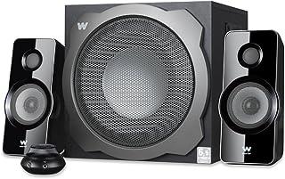 Woxter Big Bass 260 S - Altavoces 2.1 150W, Subwoofer de madera, Rejilla metálica, Control de volumen con cable, AUX, Adecuado para TV, PC y videoconsolas, Bookself Speakers, color Plateado