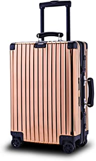 High-end All-Aluminum Password Machine Suitcase 20 Inch / 25 Inch / 28 Inch Trolley Case for Men and Women Spinner Trolley (Color : Gold, Size : 20 inch)