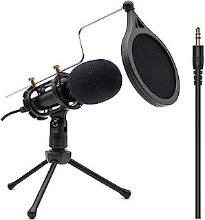 Micrófono de grabación de condensador de 3,5 mm Plug and Play, micrófono para PC de computadora, Mac, Windows, chat en lín...