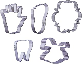 Baby Shower Cookie Cutter Set - 5 Pcs Stainless Steel Keks footprint, handprint, tooth, rocking horse shaped - Easy To Cle...
