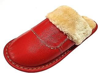 HRFEER Zapatillas de casa de Piel sintética para Mujer de, con Forro de Espuma viscoelástica, Antideslizantes, para Interiores y Exteriores