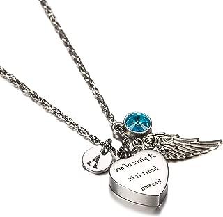 KnSam Urn Necklace for Men Women Stainless Steel Ash Memorial Pendant Irregular Heart-Shaped Lettering