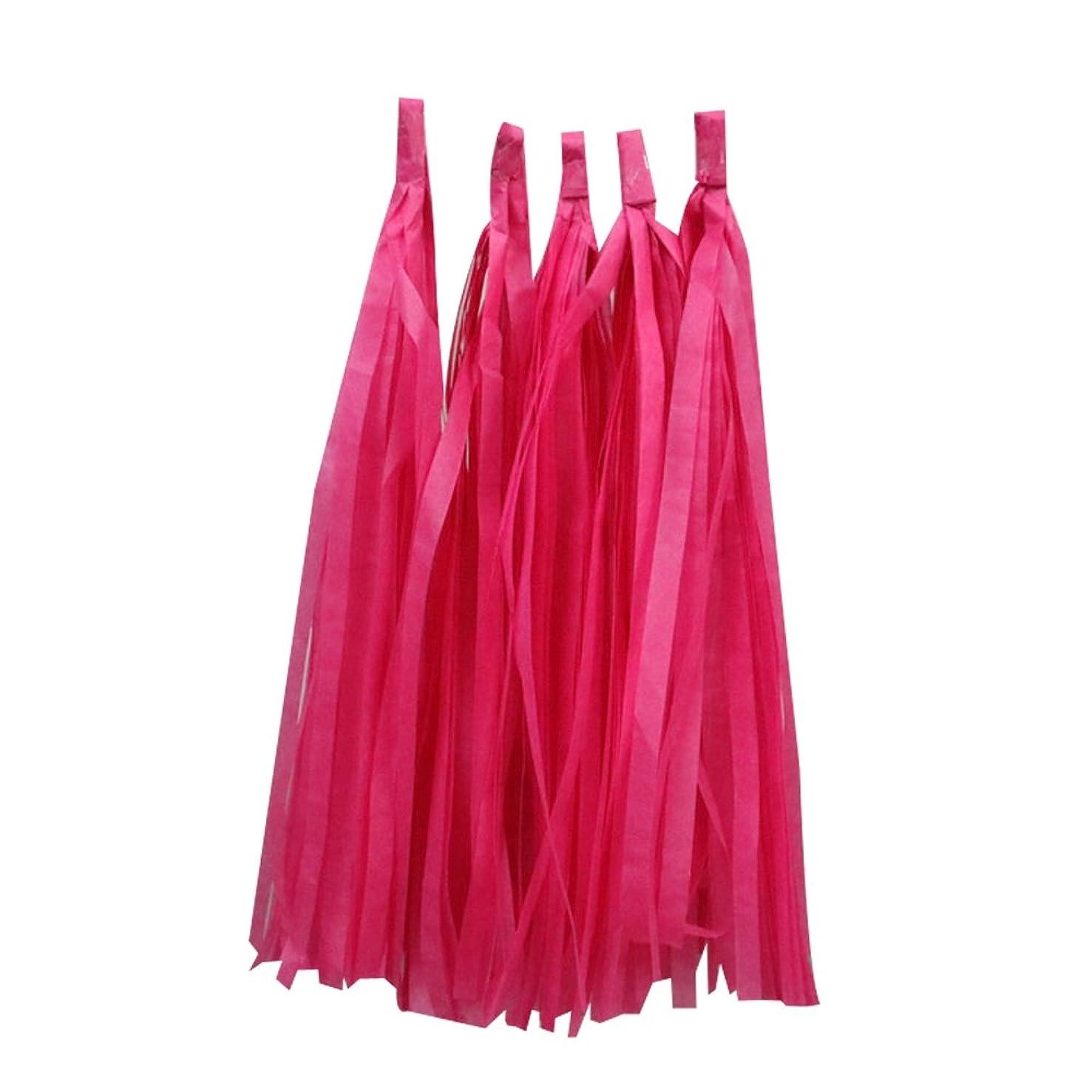 Estyle Fashion 10PCS Birthday Tissue Paper Tassel Garland for Baby Shower Party Wedding Decoration (Rose Red)