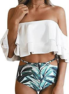 Women's Bikini Ruffle Off Shoulder Top & Floral Shorts Swimsuit Bathing Suit 2pc Sets