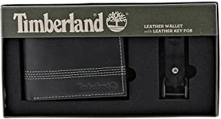 Timberland Men's Wallet with Fob Gift Set, Black