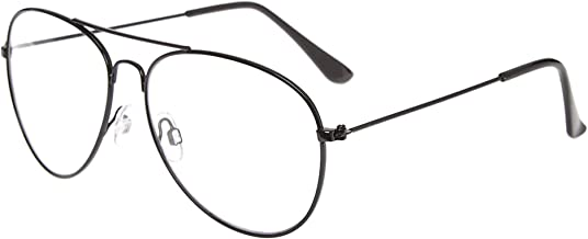 نظارة مسطحة كبيرة للرجال والنساء بإطار معدني وعدسات شفافة