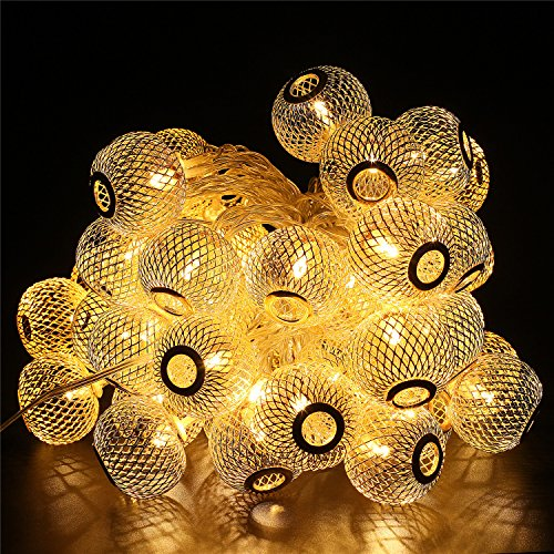 BlueFire 50 Led Bulbs 31ft Long Lantern Fairy Lights Christmas String Lights Outdoor Decorative Lights for Garden/Home/Party/Bedroom/Xmas/Indoor Decorations (Warm White)