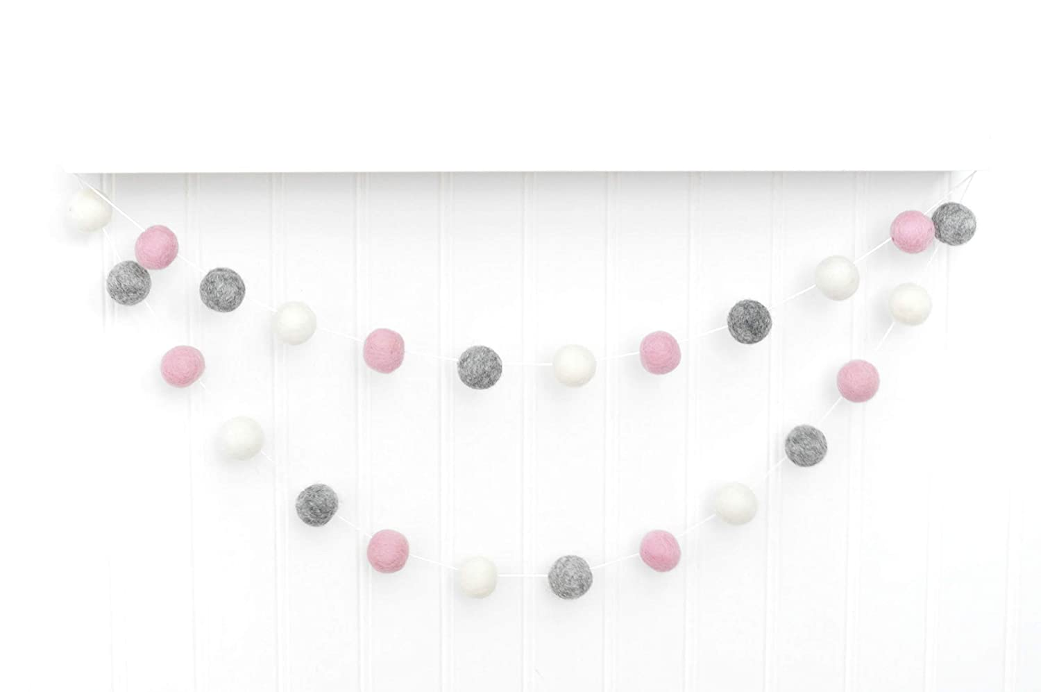 Ranking TOP11 Baby Girl OFFicial mail order Nursery Garland - Pink White Heather Gray 2.5 1