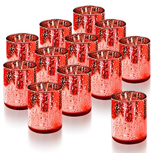 Homemory Set of 12 Votive Candle Holders Bulk, Red Tealight Candle Holder, Burgundy Mercury Glass Candle Holder for Restaurant, Wedding, Parties, Easter Decoration and Home Decor