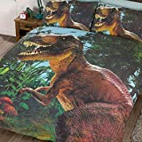 Jurassic T-Rex - Juego de fundas de edredón y almohadas, para cama doble, diseño de T-Rex
