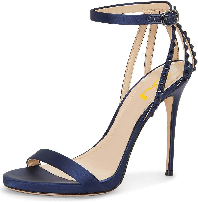 FSJ Women Open Toe Ankle Strap Stiletto High Heel Bridal Sandals Wedding shoes with Rhinestones Size 4-15 US