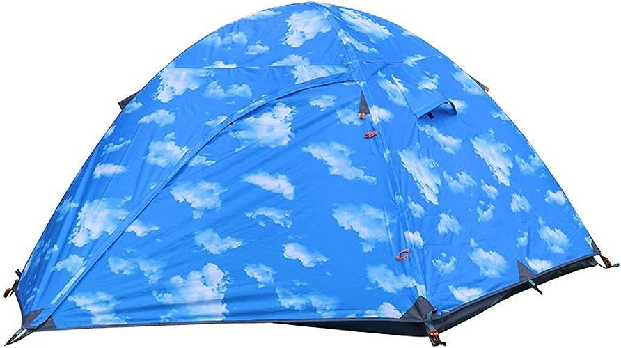 CATRP Marque Couche Double Tente De Camping 3-4 Personnes Pliable De Plein Air Alpinisme Imperméable Portable Tente,Bleu