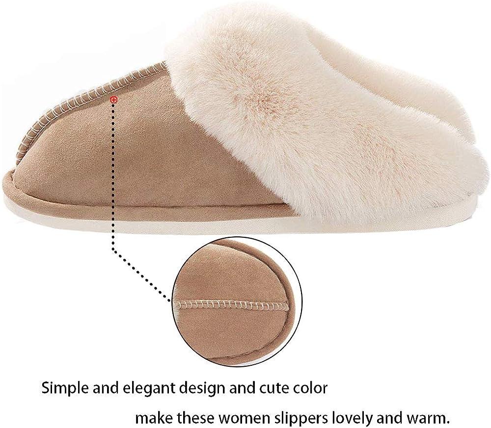 Womens Slippers Memory Foam Fluffy Soft Warm Slip On House Slippers Nop-Slip Cozy Plush Indoor Outdoor
