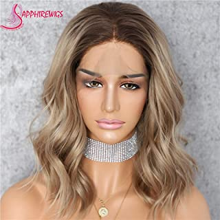 Sapphirewigs 180% High Density #8 Color Dark Roots Ombre Mix Brown & Blonde Color Short Water Wave Heat Resistant Hair Blogger Daily Makeup Glueless Synthetic Lace Front Wedding Party Wig