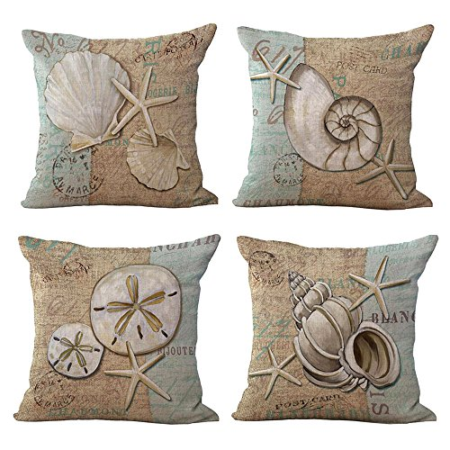WOMHOPE 4 Pcs - 18' Ocean Park Theme Sea Starfish Throw Pillow Case Cushion Cover Fashion Home Decorative Pillowcase Cotton for Sofa,Bed,Chair (Set of 4 pcs (A))