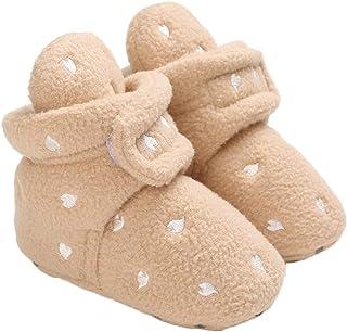 Baby Boys Girls Fleece Non Slip Booties Stay On Slipper Socks Infant Newborn First Walker Winter Warm Crib Shoes