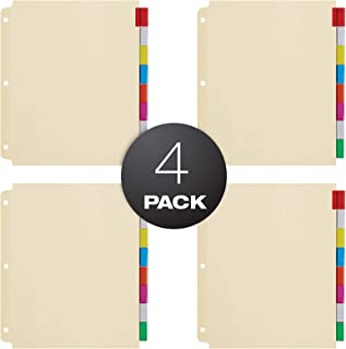 Oxford Oversized Premium Insertable Tab Extra Wide Divider, 8 Tab, Pack of 4, Assorted (R215-8A3)