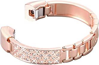 bayite Metal Bands Compatible with Fitbit Alta and Alta HR, Jewelry Bangle Adjustable Bracelet with Rhinestone