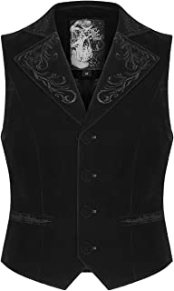 Punk Rave Mens Gothic Waistcoat Vest Black Velvet Embroidered Ivy Steampunk Vampire Regency Aristocrat Vintage Victorian W...