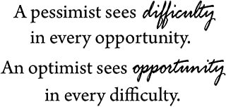 A Pessimist Sees Difficulty in Every Opportunity, an Optimist Sees Opportunity in Every Difficulty VWAQ-1762