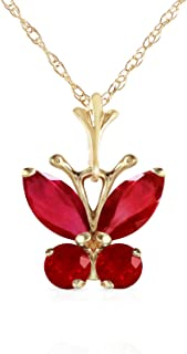 Galaxy Gold 14k Solid Yellow Gold Necklace Bar with 0.80 Carat Ruby
