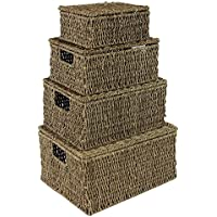 JVL Seagrass Oblong Hampers, Set of 4