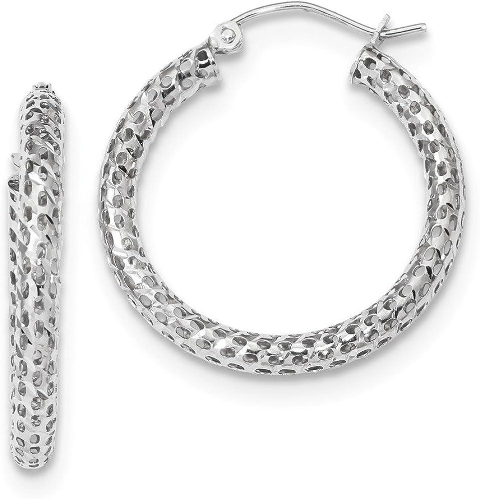 Solid 14k White Gold Mesh Hoop Earrings - 27mm x 25mm