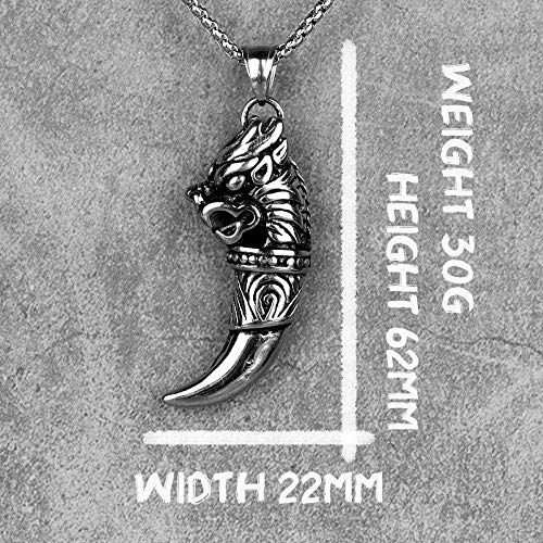 FACAIBA Necklace Unicorn Tooth Amulet Mens Long Necklaces Pendants Chain Hip Hop for Boy Male Stainless Steel Jewelry Creativity Gift