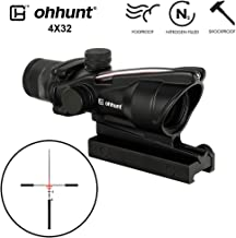 ohhunt 4x32 ACOG Style Hunting RifleScopes Red or Green Glass Etched Reticle Real Fiber Optics Tactical Sights Rifle Scope