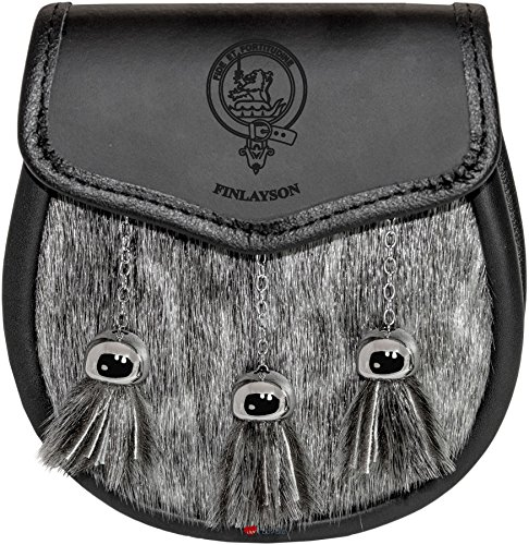 Preisvergleich Produktbild I Luv LTD Finlayson Semi Sporran Fur Plain Leather Flap Scottish Clan Crest