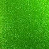 Apple Green Glitter Vinyl 12' by 15 FEET Transparent Glitter Adhesive Roll - for Cricut, Silhouette Cameo, Craft Cutters, and Die Cutters by (Green Glitter)