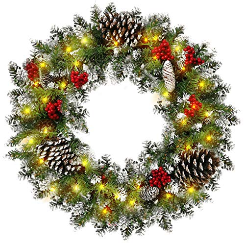 Showvigor Christmas Wreath Garland for Front Door, 24 Inch Pre-lit Artificial Xmas Garland with 50 LEDs Lights Battery Operated - Snowflake Red Berry Pinecone Fir Garland