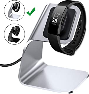 CAVN Charger Dock Compatible with Fitbit Inspire/Inspire HR Charger Stand, Replacement Charging Cable Cord Stand Cradle Base with USB Cable Smartwatch Accessories (Silver)