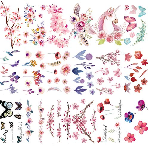 30 Sheets Watercolor Flowers Temporary Tattoos Stickers for Women Girls and Kids