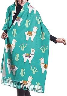 Bufanda para mujeres Hombres Llama peruana Cactus de alpaca mexicana Ligero Unisex Bufandas de invierno Fringe suave Chal Wraps