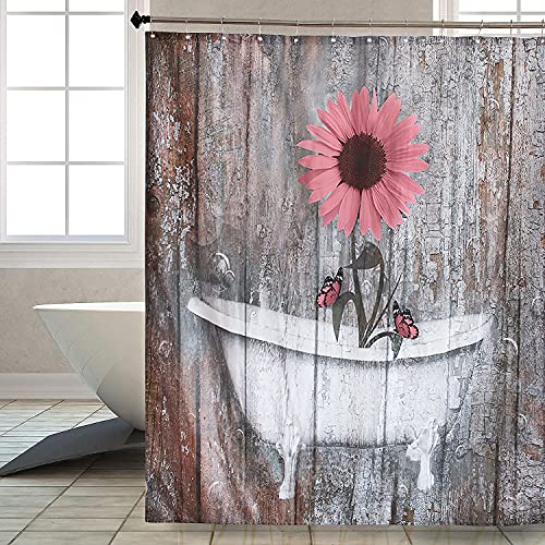 Ahomda Rustic Sunflower Butterfly Shower Curtain Farmhouse Country Style Wood Background, Polyester Waterproof Bath Curtains with 12 Free Hooks Modern Bathroom Home Decor, 66x72 Inches