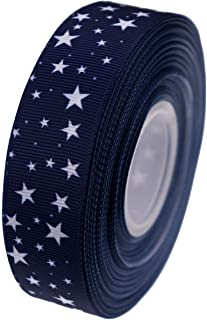ATRibbons 25 Yards 1 Inch Wide Stars Printed Grosgrain Ribbons,Color Grosgrain Ribbons with White Stars for Hair Bows Gift Wrapping and Craft (Navy)
