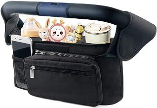 Mestron Baby Kinderwagen Organizer, Buggy Kinderwagentasche mit Isolierten Getränkehalter/Becherhalter und Aufbewahrungstasche mit Reißverschlusstasche und Geldbeutel Schwarz