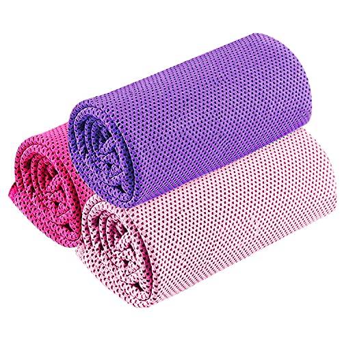 3枚セット 冷却タオル クールタオル 速乾タオル UVカット 熱中症対策 超吸水 軽量 速乾 アウトドア 運動 (パープル+ローズレッド+ピンク)