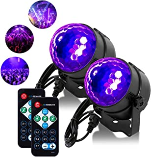 [2 Pack] Litake UV Black Lights 6W LED Disco Ball Party Lights Strobe Light Disco Lights, Sound Activated with Remote Cont...