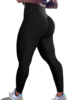 KINGJOZE High Waisted Yoga Pants for Women Stretchy Tummy Control Butt Lifting Booty Textured Leggings Running Workout Tights