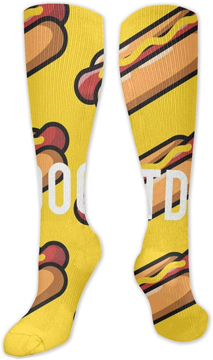 Yellow Simple Hot Dogs Pattern Knee High Socks Leg Warmer Dresses Long Boot Stockings For Womens Cosplay Daily Wear
