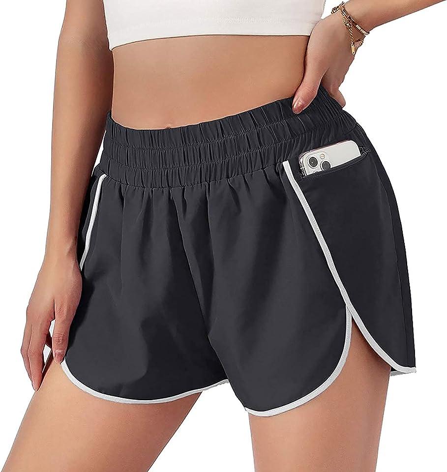 LINKIOM Women Pocket High Waist Yoga Shorts Honeycomb Splicing Running Fit Lifting