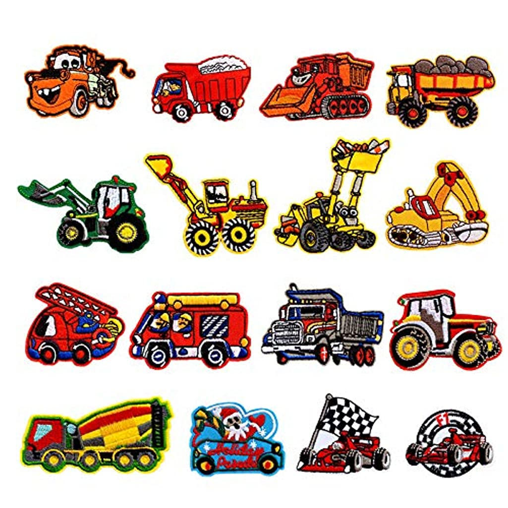 Iron On Patches,POYDORA 16 Pcs Embroidered Construction Vehicles Car Patches Applique Kit Assorted Size Decoration Sew On Patches for Clothing, Jackets, Backpacks, Jeans