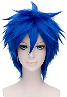 Flovex Short Straight Anime Cosplay Wigs Natural Sexy Costume Party Daily Hair (Blue)