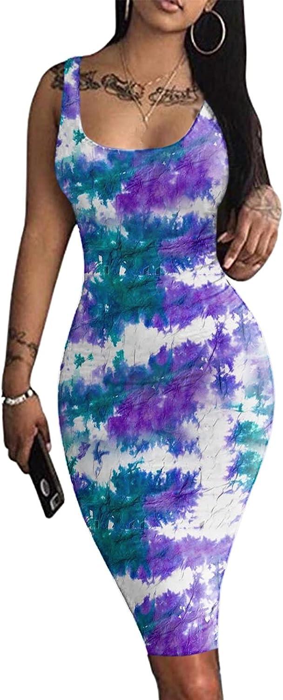 Balakie Women's Sexy Bodycon Tank Dress Sleeveless Leopard Letter Printing Basic Midi Club Dresses